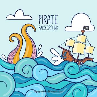 Fundo com navio pirata e ondas