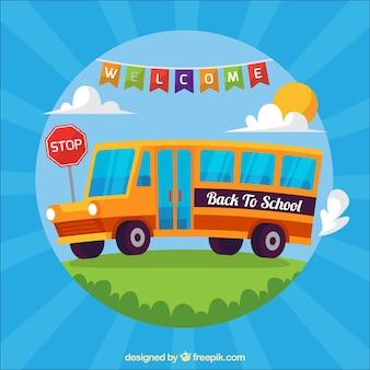 Fundo com ônibus escolar em design plano