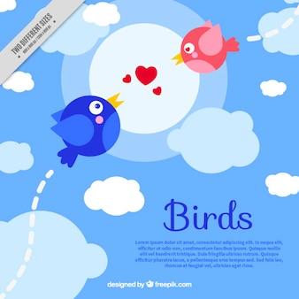 Fundo com os pássaros no amor