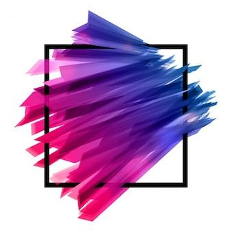 Fundo com quadrado preto e formas abstratas coloridas