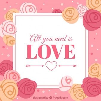 Fundo com rosas desenhadas a mão com mensagem romântica