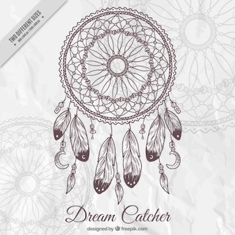 Fundo com uma mão desenhada apanhador de sonhos decorativo