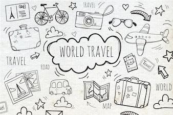 Fundo com viagens esboços