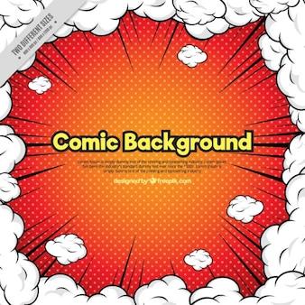 Fundo Comic cercado por nuvens de fumaça