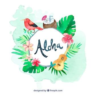 Fundo da aguarela aloha