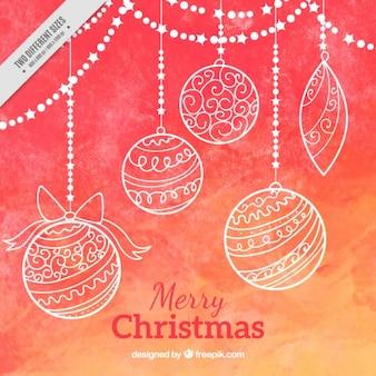 Fundo da aguarela com decoração do Natal