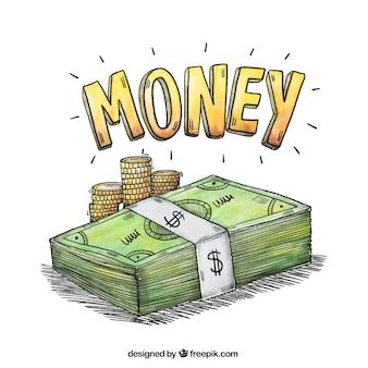 Fundo da aguarela com notas e moedas