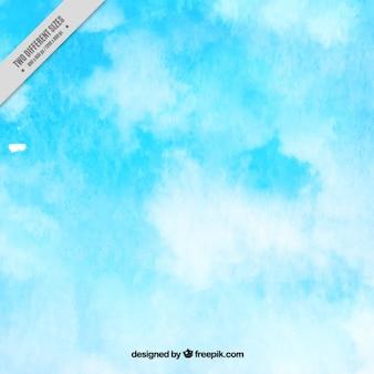 Fundo da aguarela com nuvens brancas