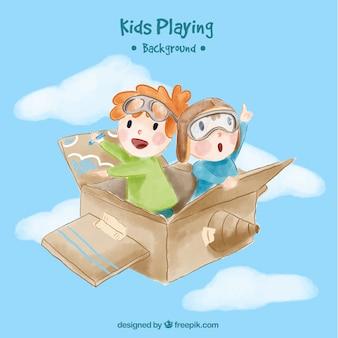 Fundo da aguarela das crianças voando em uma caixa