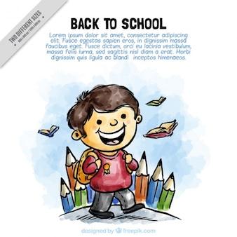 Fundo da aguarela do estudante com lápis