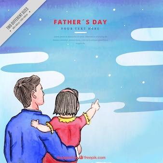 Fundo da aguarela do pai com a filha olhando para o céu