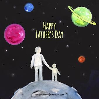 Fundo da aguarela do pai com seu filho no espaço