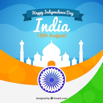 Fundo da bandeira da Índia com taj mahal