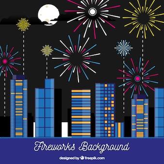 Fundo da cidade com fogos de artifício