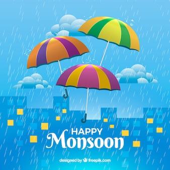 Fundo da cidade com guarda-chuva colorido