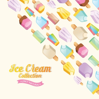Fundo da coleção de sorvete