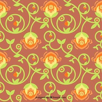 Fundo da flor com folhas ornamentais