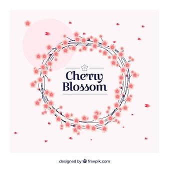 Fundo da flor de cerejeira com coroa de flores decorativas