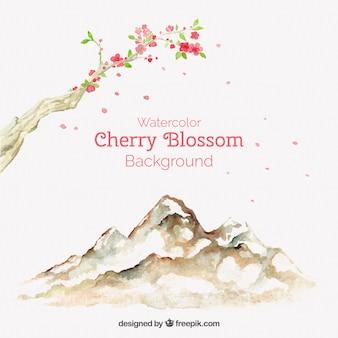 Fundo da flor de cerejeira impressionante no estilo da aguarela