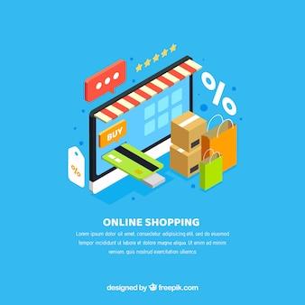 Fundo da loja online com elementos isométricos