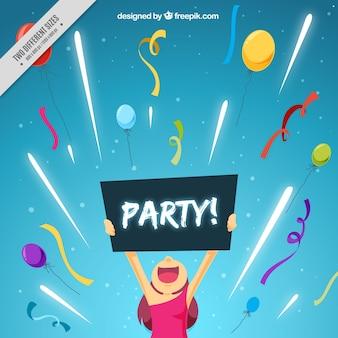 Fundo da menina com um cartaz do partido