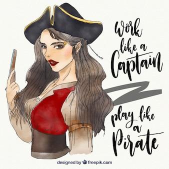 Fundo da mulher do pirata da aguarela com mensagem