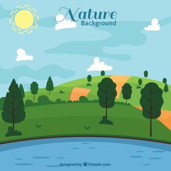 Fundo da natureza plana