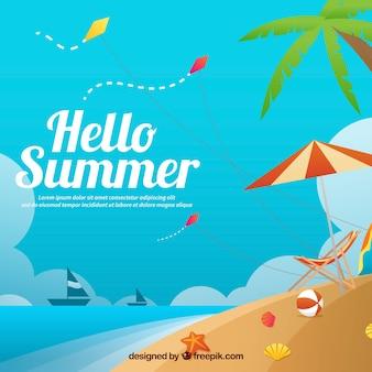 """Fundo da paisagem da praia com texto """"olá! Verão"""""""
