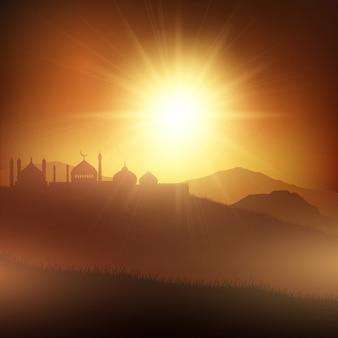 Fundo da paisagem do Ramadan com mesquitas em susnet