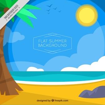 Fundo da paisagem do verão no design plano