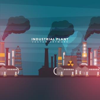 Fundo da planta industrial