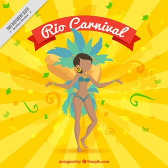 Fundo da raia amarela com bailarina brasileira