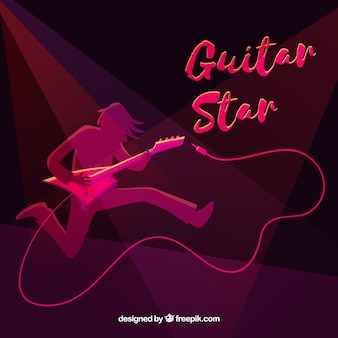 Fundo da silhueta do guitarrista