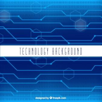Fundo da tecnologia com circuitos e figuras geométricas