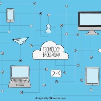 Fundo da tecnologia com dispositivos conectados