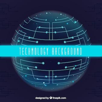 Fundo da tecnologia com esfera e circuitos