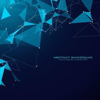 Fundo da tecnologia com formas triangulares e malha de arame