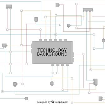 Fundo da tecnologia com linhas coloridas