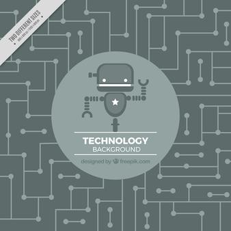 Fundo da tecnologia com robô em tons de cinza