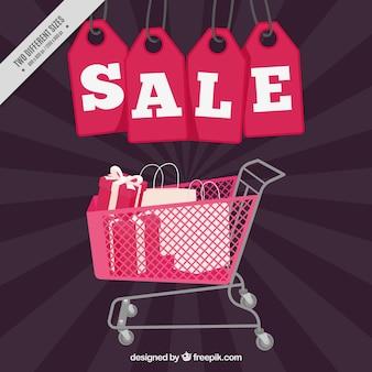 Fundo da venda com etiquetas e carrinho de compras