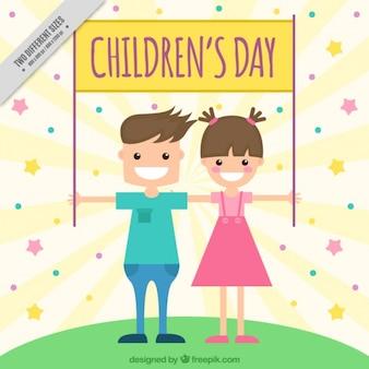 Fundo das crianças alegres que prendem o poster dia para crianças