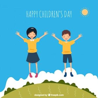 Fundo das crianças felizes que saltam