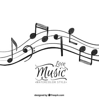 Fundo das notas musicais no estilo da aguarela