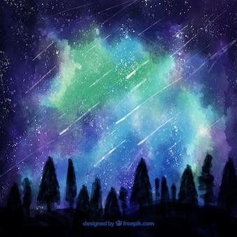 Fundo de aguarela com árvores e céu estrelado