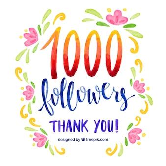 Fundo de aguarela com flores de 1k seguidores