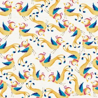 Fundo de aguarela com pássaros bonitos
