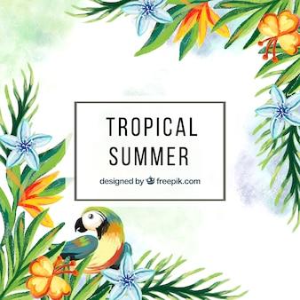 Fundo de aguarela tropical com papagaio