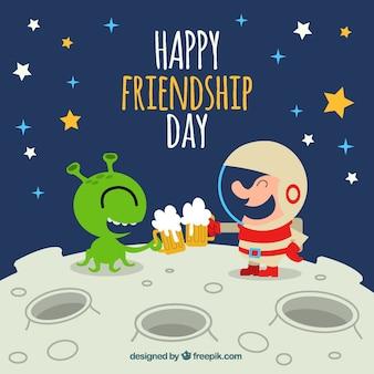 Fundo de amizade feliz com alienígena e astronauta