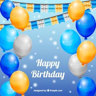 Fundo de aniversário de balões decorativos brilhantes