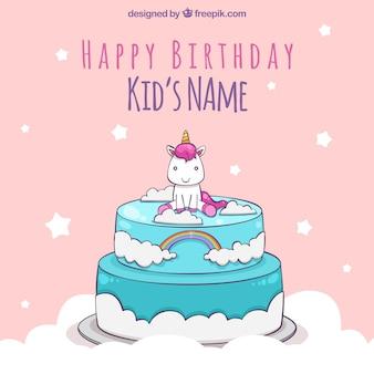 Fundo de aniversário do unicórnio em cima de um bolo
